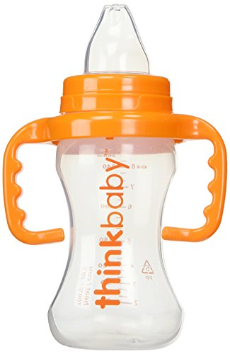 Thinkbaby BPA Free No Spill Sippy Cup, Orange/Natural, 9 Ounce (Cup Bottle Sippy To Trainer)
