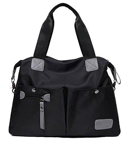 Handbag Pockets Multi Women Shoulder Zipper Nylon Black Tote Hobo Bag Waterproof qSzcnT8z