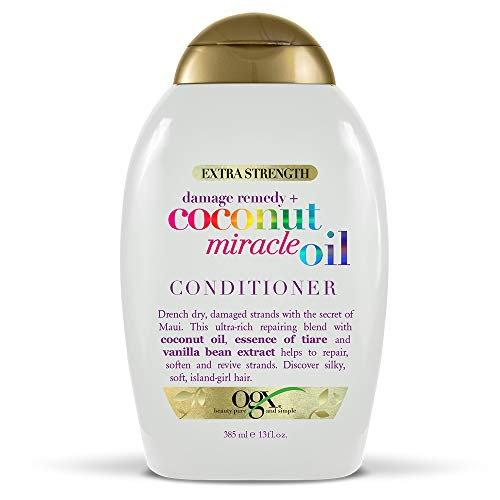 OGX Damage Remedy + Coconut Miracle Oil Extra Strength Conditioner, 13 Ounce Bottle Sulfate-Free Surfactants