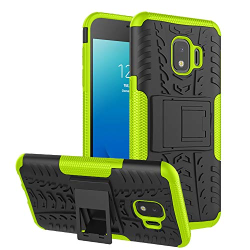 RioGree Phone Case for Samsung Galaxy J2 Core / J2 Dash /J2 Pure Case, Heavy Duty Cell Phone Shockproof with Kickstand Cover Skin TPU,Green