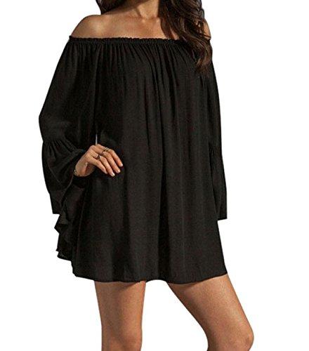 Sexy Chic Vêtements plage et été Chiffon Robe Noir Couvrir Coupe Ample en Couches Taille Unique