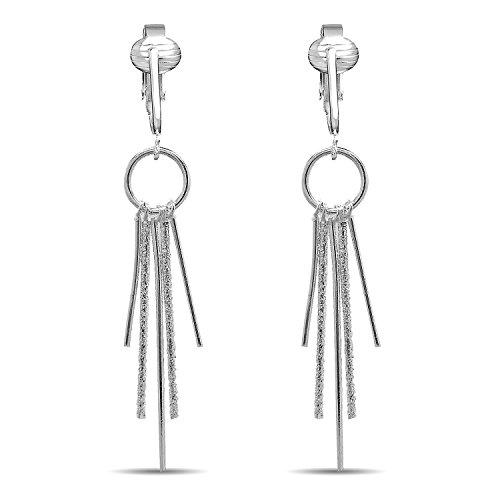 (Modern Silver Dangle Clip On Earrings for Women & Girls Clip-ons, Non-pierced Ears, Long Dazzling Drop (Silver Modern Drops))