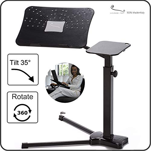 Lounge-Book Black - Ergonomic Laptop Stand, Supports up to 17-18 inchs Notebook, Tablet, IPad, Lectern for E-Book. Coolfit Cooling System, Mouse-pad for External Mouse or Smartphones - Table Light Lectern