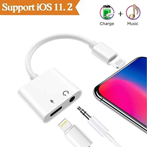 EXECCZO Compatible 3.5mm Aux Audio and Charger Headphones Jack Cable Connector Adapter Splitter Replacement for iPhone Xs/X / 8 8 Plus / 7 7 Plus