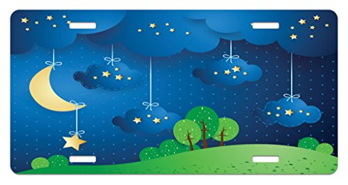 Lunarable Sweet Dreams License Plate, Hanging Moon Stars and Clouds Hills Trees on Dotted Background, High Gloss Aluminum Novelty Plate, 5.88 L X 11.88 W Inches, Pale Yellow Blue and Green