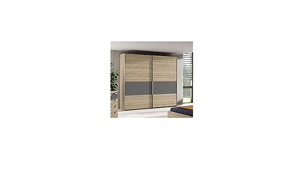 AMUEBLA Armario DE 2 Puertas CORREDERAS Color Roble Natural Combinado con Antracita: Amazon.es: Hogar