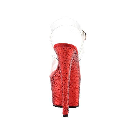 Pleaser Semelle Femme Compensée Clr Talons 801 Red et Flamingo Glitter rx6pr