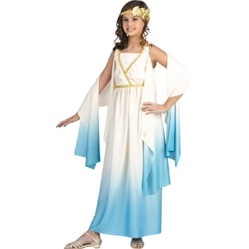 Greek Goddess Child Costume White Blue - (Fig Leaf Costumes)
