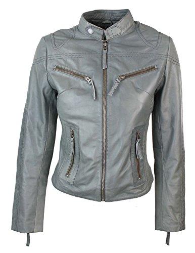 100% Ladies Real Leather Jacket Fitted Bikers Style Vintage Grey Rock Grey