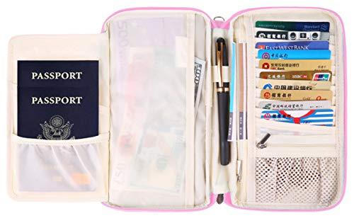 - RFID Passport Holder Travel Wallets Pouch for Girls Pink