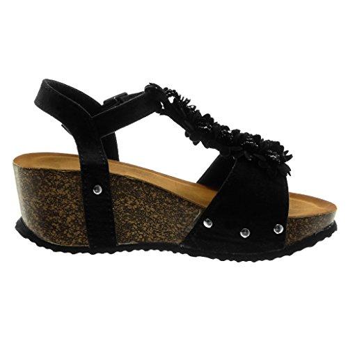 Angkorly Damen Schuhe Sandalen Mule - Knöchelriemen - Plateauschuhe - T-Spange - Blumen - Nieten - Besetzt - Perle Keilabsatz High Heel 6.5 cm Schwarz