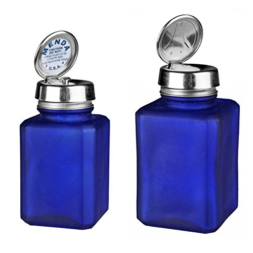 Menda MDA-4443 4oz Pure Touch and 6oz One Touch Square Frosted Glass Bottles Kit with Stainless Steel Closure, Blue (Menda Pump)