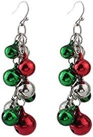 FENICAL Christmas Jingle Bell Earrings Multicolor Chandelier Drop Dangle Earrings for Festive Holiday Birthday