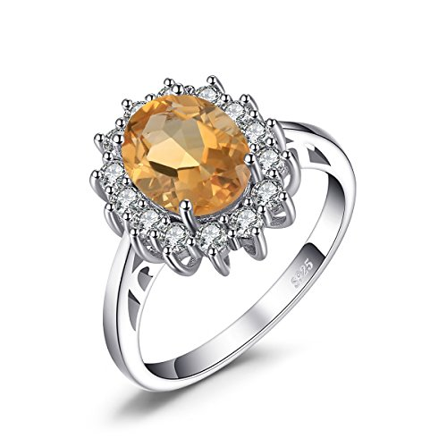 JewelryPalace Kate Princess Diana 1.8ct Natural Citrine Engagement Halo Ring 925 Sterling Silver Size 8