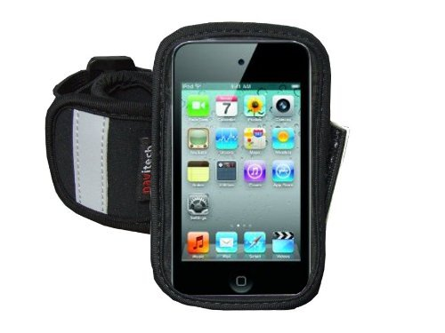 Navitech Black/ Silver Neoprene Water Resistant Sports Gym, Jogging / Running Armband Case with for Larger Smart Phones (4.0