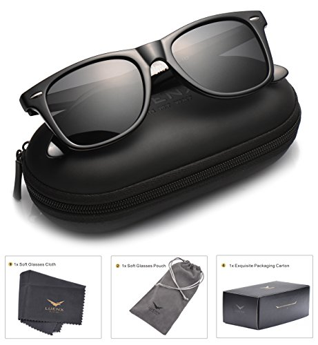 Mens Wayfarer Sunglasses Polarized Womens: UV 400 Protection 52MM ,by LUENX with Case