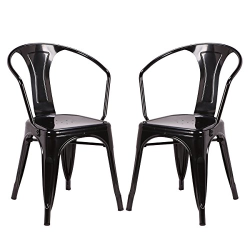 Costway Tolix Style Dining Chairs Industrial Vintage Chic Metal Stackable High Back Indoor Outdoor Dining Bistro Café Kitchen Arm Side Chairs Set of 2 (Black)
