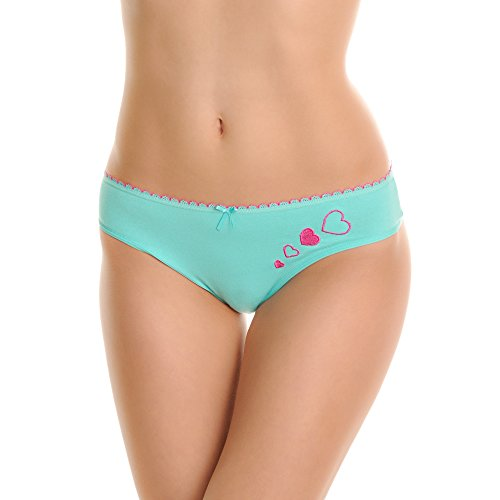 Angelina Cotton Bikini Panties with Embroidered Hearts (6-Pack), G6282_XL - Embroidered Bikini Panties