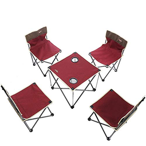 LXQ Outdoor Folding Table and Chairs Set of Five/Beach Chair Folding Table and Chairs Picnic Combination Outdoor Leisure Camping Picnic Table (5 Sets of Medium) ()