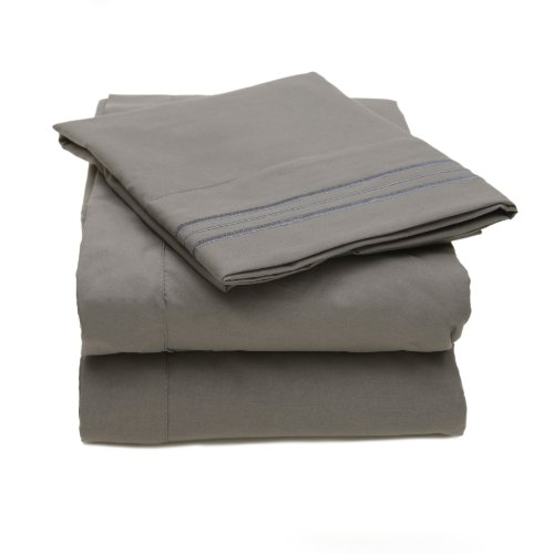 Sweet Home Collection 2000 All Size 12 Colors Collection 4-Piece Egyptian Quality Deep Pocket Bed Sheet Set, Queen, Gray