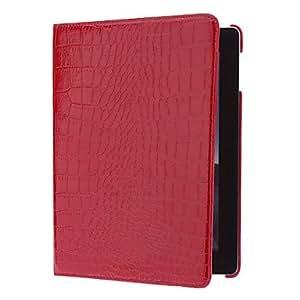 Patrón del cocodrilo 360 grados giratoria de caso completo de cuerpo con soporte para iPad 2/3/4 (rojo)
