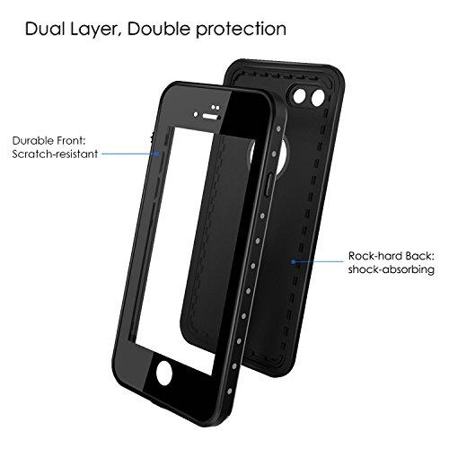 MoKo iPhone 8 / 7 Case Impermeabile – Cover Protettiva Impermeabile Ruvida Rigida Tutta Coperta Colpo-Assorbente, con Pellicola Schermo, SOLO per Apple iPhone 8 (2017) / iPhone 7 4.7 Smartphone, Nero