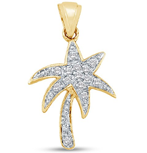 10K Yellow Two Tone Gold Prong Set Palm Tree Diamond Pendant Charm (1/10 (Diamond Palm Tree Charm)