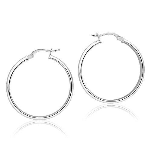 2MM Sterling Silver Hoop Earrings (15mm 18mm 22mm 25mm 30mm) (25 (French Lock)