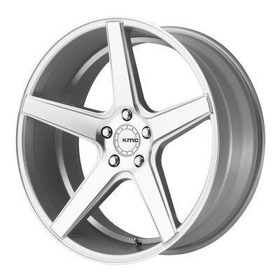 One KMC Bright Silver Machined KM685 District Wheel/Rim - 18x8 - 5x114.3 - +38mm