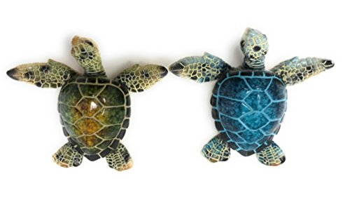 Decorative Sea Turtle Magnets, Set of 2, Blue and Green - Refrigerator or Metalic Bulletin Board, 4.5 Long Decorative Turtle