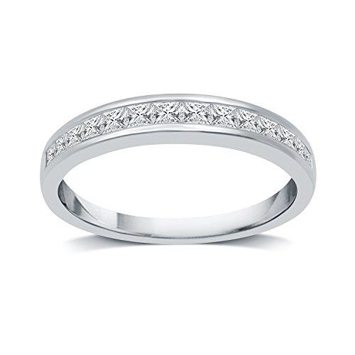 DeCarat 1/2 CT.T.W. Diamond 10K White Gold Princess Wedding Band Ct Tw Princess Diamonds Band