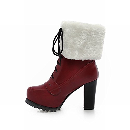 Carol Chaussures Elegance Femmes Fausse Fourrure Lace-up Mode Chaude Plate-forme Haute Chunky Talon Bottes De Neige Vin Rouge
