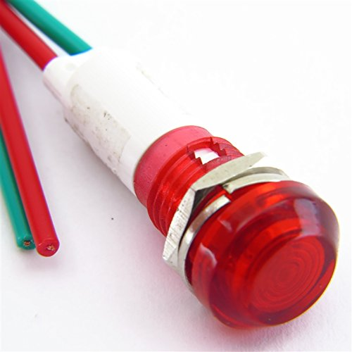 PACK OF 10 YuCo YC-9WRT-23R-120-10 RED LED 9MM MINIATURE INDICATOR PILOT LIGHT 120V AC/DC by Yuco (Image #1)