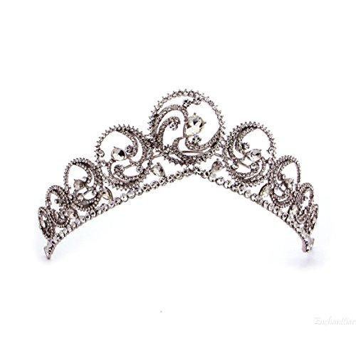 Timelessbride Royal Swarovski Crystal Paved White Gold Tone Swirls V Shape Wedding Bridal Prom Birthday Tiara Crown in Gift ()