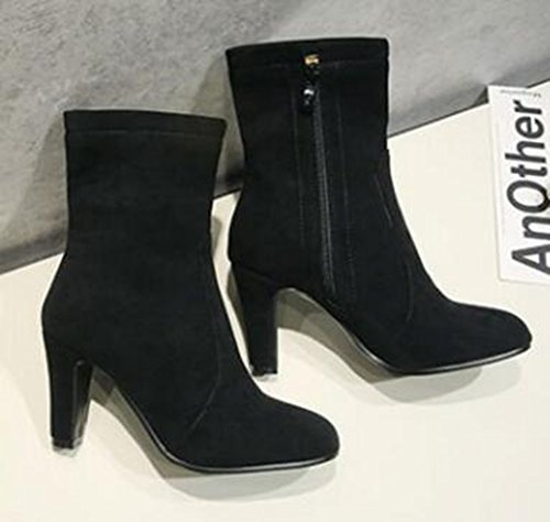 Zipper High Easemax Heel Side Chunky Womens Toe Round Frosted Elegant Black Boots OwUpwq6z