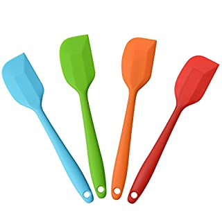 "10"" Silicone Spatulas Heat Resistant Non-Stick Flexible Rubber With Solid Stainless Steel Kitchen Essential Gadget Premium Scraper,4 Pack"
