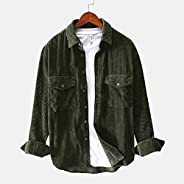 Mens Casual Long Sleeve Button Down Corduroy Jackets Big and Tall Flannel Warm Shirts Lapel Plain Tops
