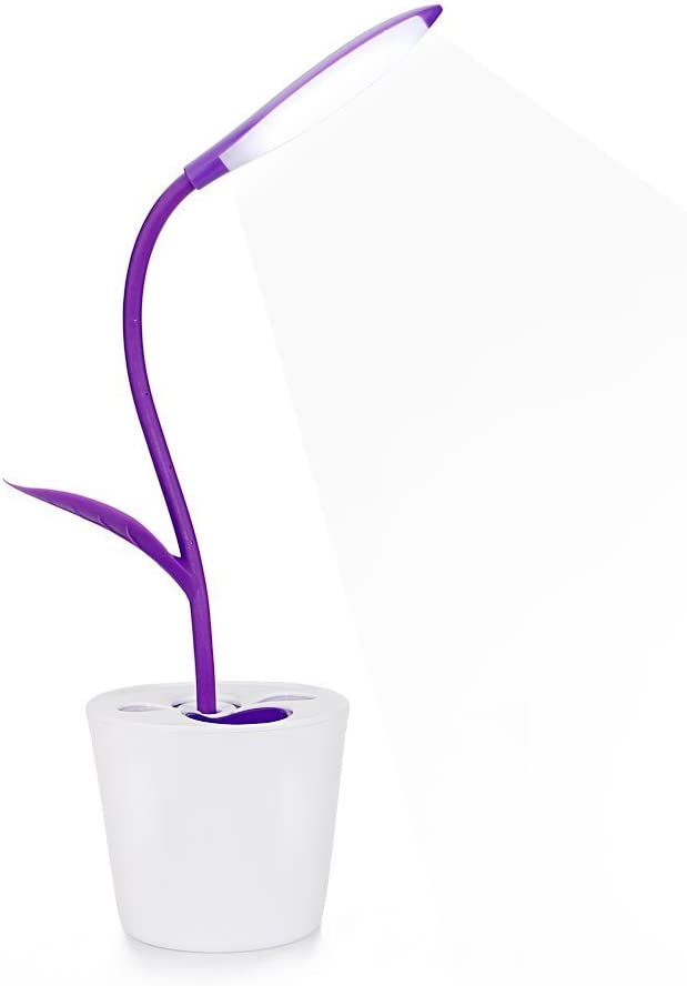 MKDMiD Flexible USB Touch Desk Lamp, Wireless LED Desk Lamp 3 Level of Brightness Sapling Pot with Plant Pencil Holder (A / Purple)