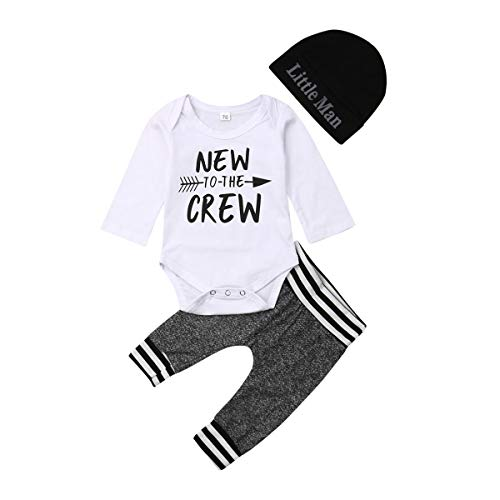 Emmababy Newborn Baby Boys Girls Clothes Daddy's Little Man/New to The Crew Romper +Harem Cotton Long Pants +Hat Outfit (0-3 Months, New to The Crew 1)