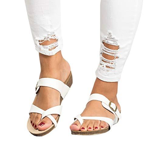 Women's Cross Toe Double Buckle Strap Cork Flip Flops Leather Flat Gladiator Sandals ()