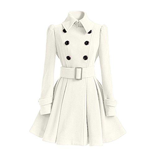 Lana Abrigo de Parka Abrigos Chaquetas de Mujer Botones imitación Rompevientos Elegantes de Cinturón Ropa Blanco Sudaderas 0d88nYxw