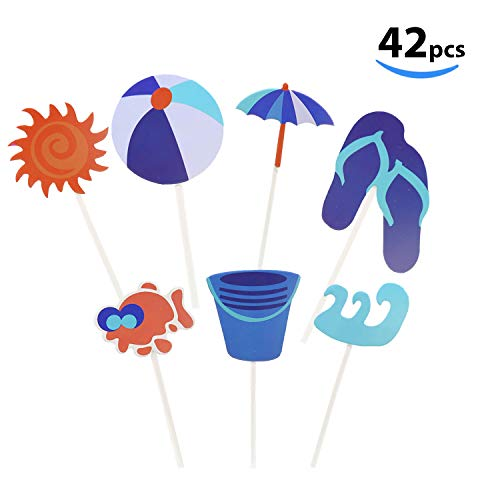 Flip Flop Glue - Beach Cupcake Toppers 42 Pack Pool Party Favors Beach Ball Flip Flops Sun Umbrella Cake Toppers for Birthday Wedding Summer Hawaiian Party Decoration