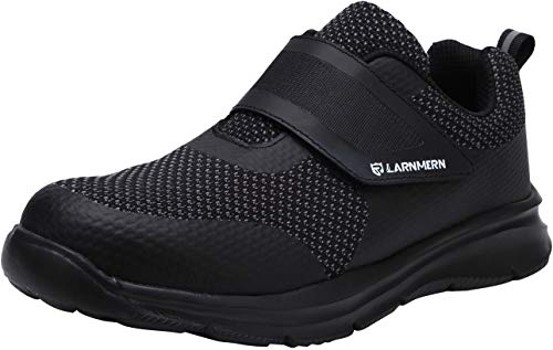 - LARNMERN Men's Steel Toe Work Shoes, LM-1821 Knit Breathable Lightweight Safety Shoes with Magic Tape (11 D(M) US, Triple Black)