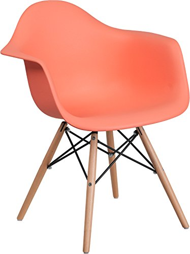 Cheap Mid-Century Modern Contour Accent Dining Chair in Peach Finish with Wood Base