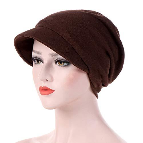 Women's Turban Cotton Beanie Visor Cap Baggy Chemo Hats Hexagon Head Cap Solid Color Warm Windproof Cap -