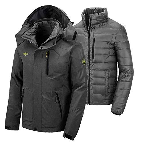 Wantdo Men's 3 in 1 Down Ski Jacket Mountain Waterproof Snow Jacket Warm Winter Rain Coat