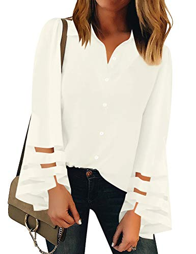 Luyeess Women's Long Sleeve Blouse Button Up Mesh Panel Top Shirt White Color, Size S