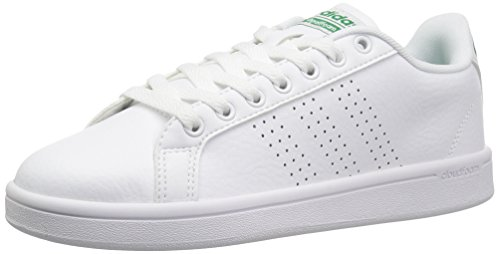 - adidas NEO Men's Cloudfoam Advantage Clean Sneakers, WHITE/WHITE/GREEN, 5.5 Medium US