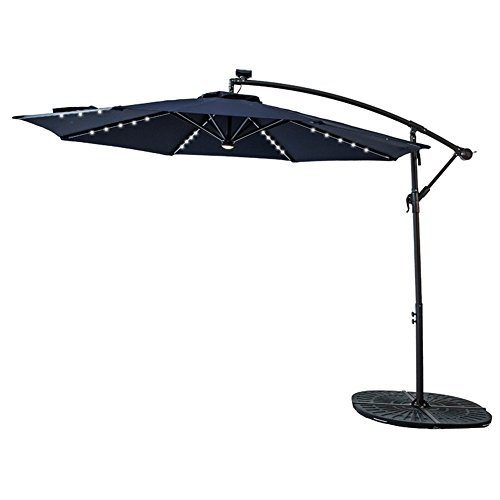 - FLAME&SHADE 10' LED Light Cantilever Offset Umbrella, Hanging Patio Umbrella with Solar Panel, Crank Lift, Large Round, Navy Blue
