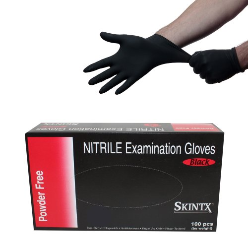 Black Nitrile Powder Free Medical Exam Tattoos Piercing Gloves- Size Medium - 100 Gloves per Box